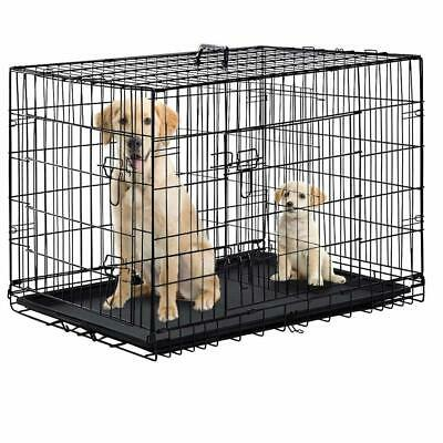 """Folding Black 48"""" 2 Door Pet Dog Cage Kennel w/Divider Cat Cage Kennel w/Tray"""