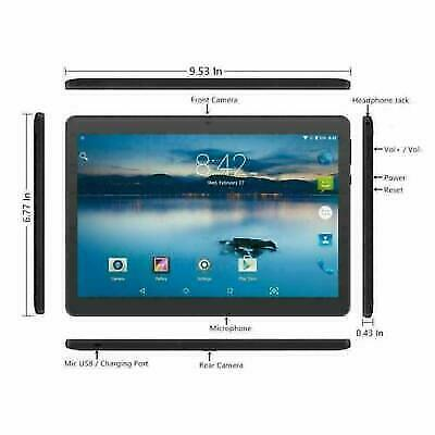 "Tablet 10"" inch Android Go 8.1, Tablet PC with TF Card Slot & Dual Camera 256GB"