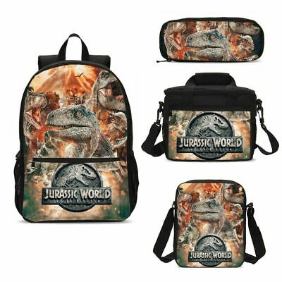 Jurassic World Dinasaur Print Boys Backpack Lunch Bag Tote Pen Case Kid Gift Lot