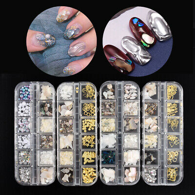 12 Grids Nail Art Alloy Flake Sequin Shell Irregular Crushed 3D Manicure Decor