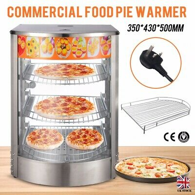 Commercial Food Pie Warmer Counter Top Heated Curved Glass Hot Food Display UK