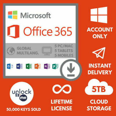 MS OFFICE 365-2016 PRO PLUS Lifetime license 5 devices- Shipping 30 Sec.
