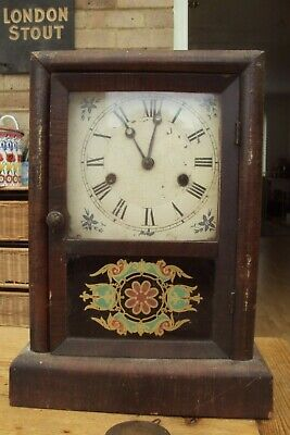 American Wooden Antique Mantel Clock For Spares Or Repair.