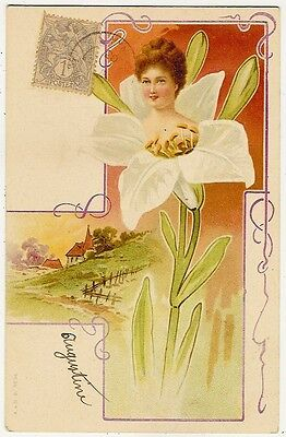 Art Nouveau, Young Lady in a White Flower and a Landscape, Old Postcard Pre 1905
