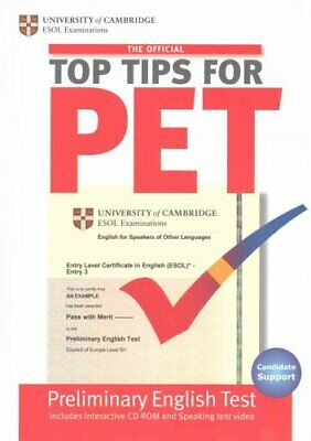 The Official Top Tips for PET Paperback with CD-ROM 9781906438500   Brand New