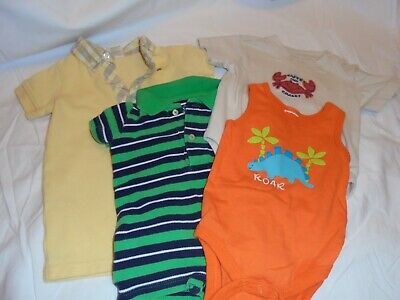 baby boy lot of 4 one piece Oshkosh, George, Chaps Ralph Lauren, newborn to 6m