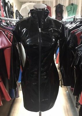 Misfitz black gloss Pvc mistress dress 2 way zip size 28 Goth TV CD Fetish
