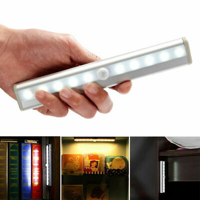 PIR Motion Sensor Cabinet Light 10LEDs Portable Wall Lamp Rigid Strip Bar Light