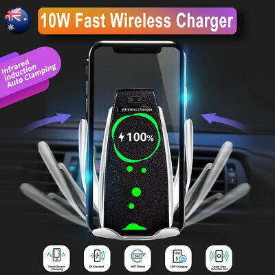 For iPhone Samsung Qi Automatic Clamping Wireless Car Charging Charger Holder
