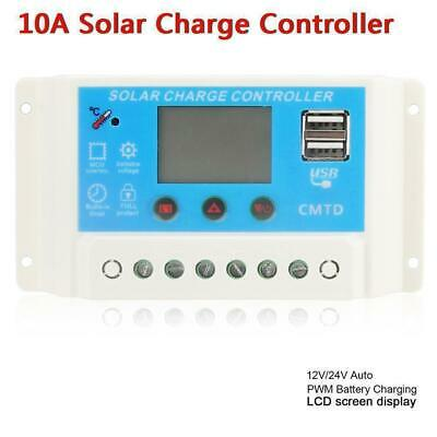 12V/24V AUTO 10A/20A LCD PWM Solar Panel Charge Controller With Dual USB 5V DE