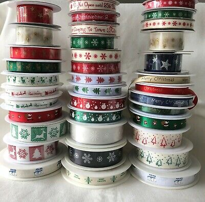 Christmas Ribbon 1 metre length Satin Grosgrain Organza Twill *Lots of Designs*