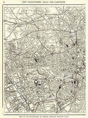 1908 Antique LONDON Map of London England Black & White Gallery Wall Art  #6876