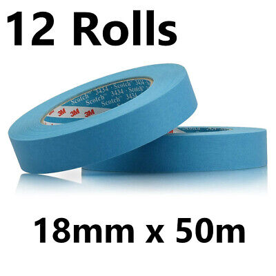 12 x Rolls - 18mm Scotch High Performance Masking Tape 3434 - 50m Rolls - 07895