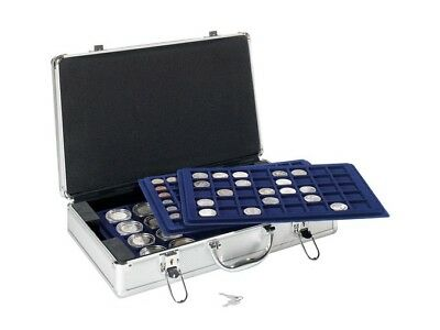 Aluminium coin case with 5 fitted trays