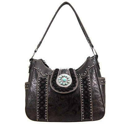 Montana West Real Leather Western Shoulder Handbag Coffee Whipstich, Concho