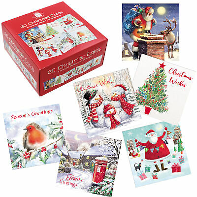 Bumper Box of 30 Christmas Cards 6 Assorted Designs with Envelopes
