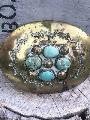 Vintage Hand Made Native American Turquoise Western Belt Buckle