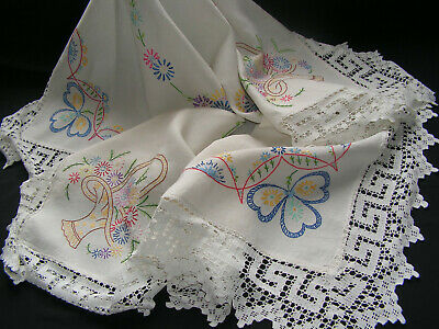 B'ful Lge Vtg Richly Hand Embroidered Colourful Flower & Hand Worked Lace Cloth