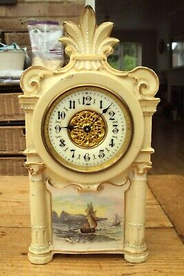 Very Pretty Antique Pottery Mantel Clock Not Working.