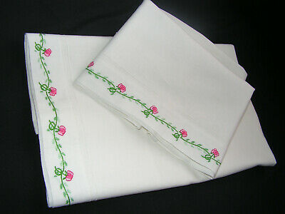 2 B'ful Vtg Richly Hand Embroidered Small Roses White Cotton Pillow Cases