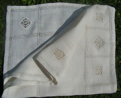 B'ful Vtg Decorative Hand Worked Lace Insert Cream Coloured Linen Table Runner