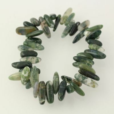 New Beaded Bracelet - Marbled Green White Moss Tree Agate Beads Stretch Band