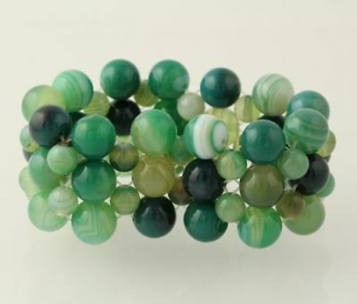 New Chunky Beaded Bracelet - Green & Blue Agate Stone Beads Stretch Mesh Band 8""