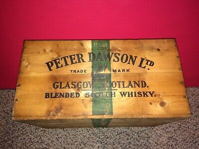 Vintage 1950's Peter Dawson Dawson's Scotch Whiskey Whisky Wood Crate,Phila.,Pa