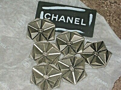 Chanel 6 Metal Cc Logo Front Antique Silver Buttons 22- 25 Mm /Over 1'' Lot 6
