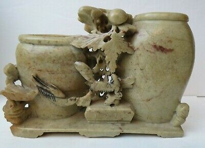 Antique Carved Soapstone Chinese Incised Brush Pot Vase Bird Flowers Dated 1915