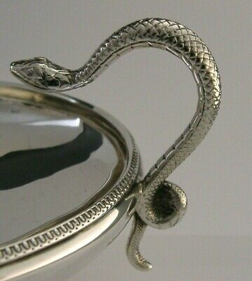 BEAUTIFUL STERLING SILVER SNAKE HANDLED DISH or BOWL 1925 ANTIQUE 198g ENGLISH