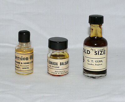 3 x bottles of oil for old microscope; Immersion, Canada Balsam, 'Gold size'.