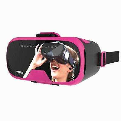 Tzumi Dream Vision Virtual Reality Headset, Pink VR Gaming, Videos, Racing