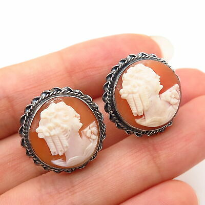 925 Sterling Silver Antique Cameo Victorian Lady Design Screw Back Earrings