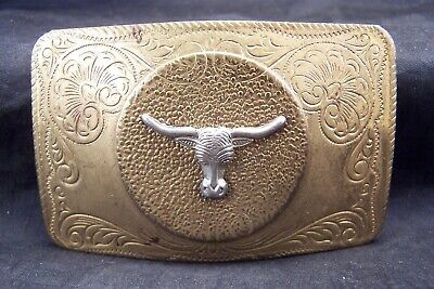 Vintage Solid Brass Western Texas Long Horn Steer Cowboy Rodeo Belt Buckle Nice