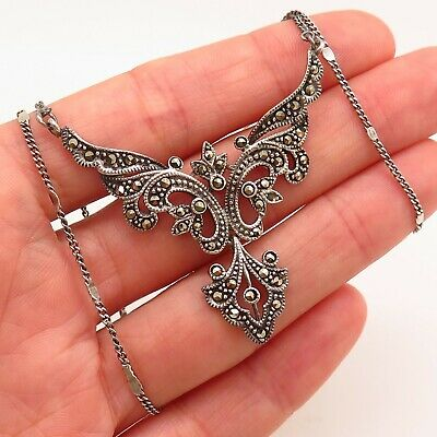 Antique Art Deco 925 Sterling Silver Marcasite Gem Ornate Pendant Chain Necklace