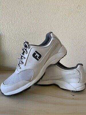 FootJoy Mens Golf Athletics Spikeless Shoe- White  Preowned Size 9