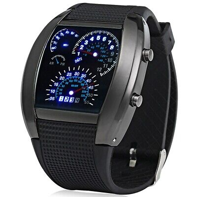 Rubber Band Arch Shaped LED Car Racing Watch with Display Time
