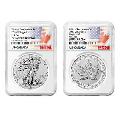 2019 PRIDE OF TWO NATIONS LIMITED EDITION 2 COIN SET, NGC PF69 ER, Pre-Sale