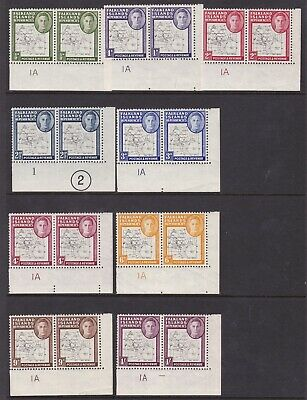 Dependencies 1948 Thin Map Set Of Corner Plate Number Pairs Mint, Cat £200+