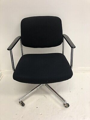 Mid Century Modern OFFFICE CHAIR desk office swivel chrome black vintage rolling