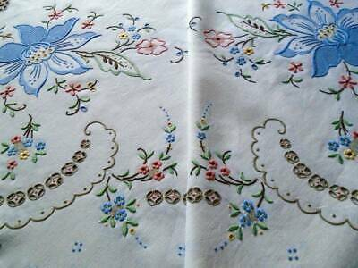 Spectacular Lg.madeira Linen Tablecloth~Exceptional Embroidery~Beautiful Colours
