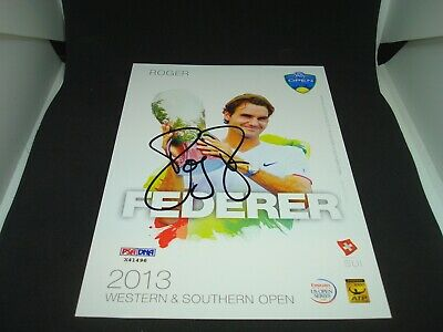 Roger Federer Signed 2013 W&S Open Official Player Card PSA/DNA COA Auto. 1A