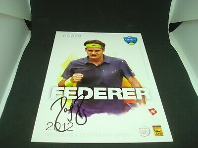 Roger Federer Signed 2012 W&S Open Official Player Card PSA/DNA COA Auto. 1A
