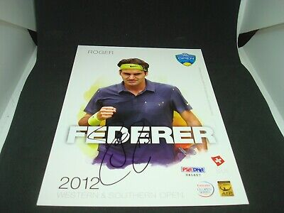 Roger Federer Signed 2012 W&S Open Official Player Card PSA/DNA COA Auto. 1I