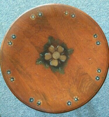 Ethan Allen Stool Stenciled Wood Black Gold Floral Seat Folk Art