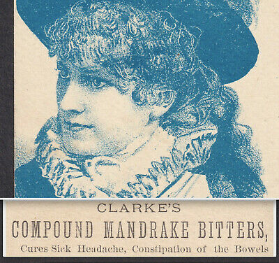 Clarkes Compound Mandrake Bitters ME Elixir Patent Medicine Victorian Trade Card