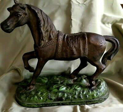 """Antique Cast Metal Horse 7.5"""" by 8.5"""" Wide"""