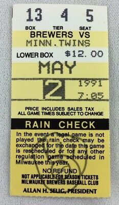 MLB 1991 05/02 Minnesota Twins at Milwaukee Brewers Ticket Stub-Kevin Brown WP
