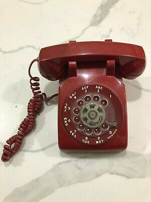 Vintage RED Rotary Dial Desk Phone Telephone AT&T 500DM